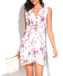 white & purple silk blend V-neck dress