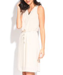 chalk silk blend waist-tie dress
