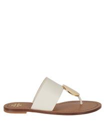 White & gold-tone disc sandals