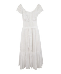 White scoop neck ruffle dress