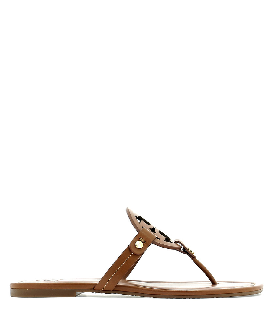 Miller brown leather Y sandals Sale - tory burch