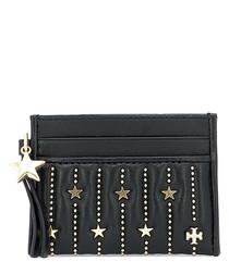 Black leather star studded cardholder