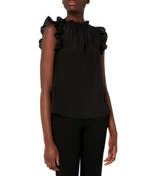 Willow black pure silk frill blouse