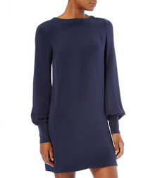 Holly navy pure silk tunic dress