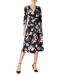 Glenda magnolia print wrap dress
