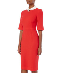 Hamlet red wool crepe pencil dress