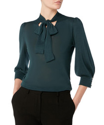 Hermione dark teal bow neck knit top