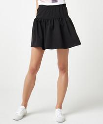 Black fit & flare mini skirt
