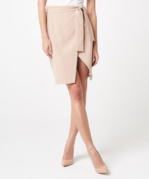 Beige tie-waist slit pencil skirt