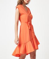 Orange wrap ruffle mini dress