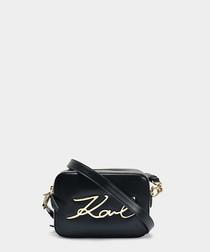 K/Signature black leather camera bag