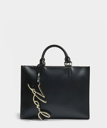 K/Signature black smooth leather shopper
