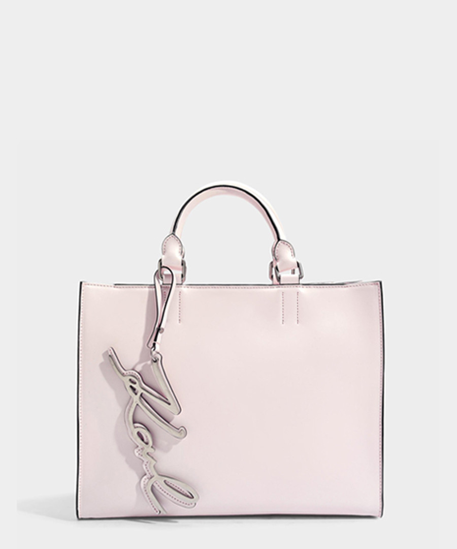 K/Signature rose smooth leather shopper Sale - KARL LAGERFELD