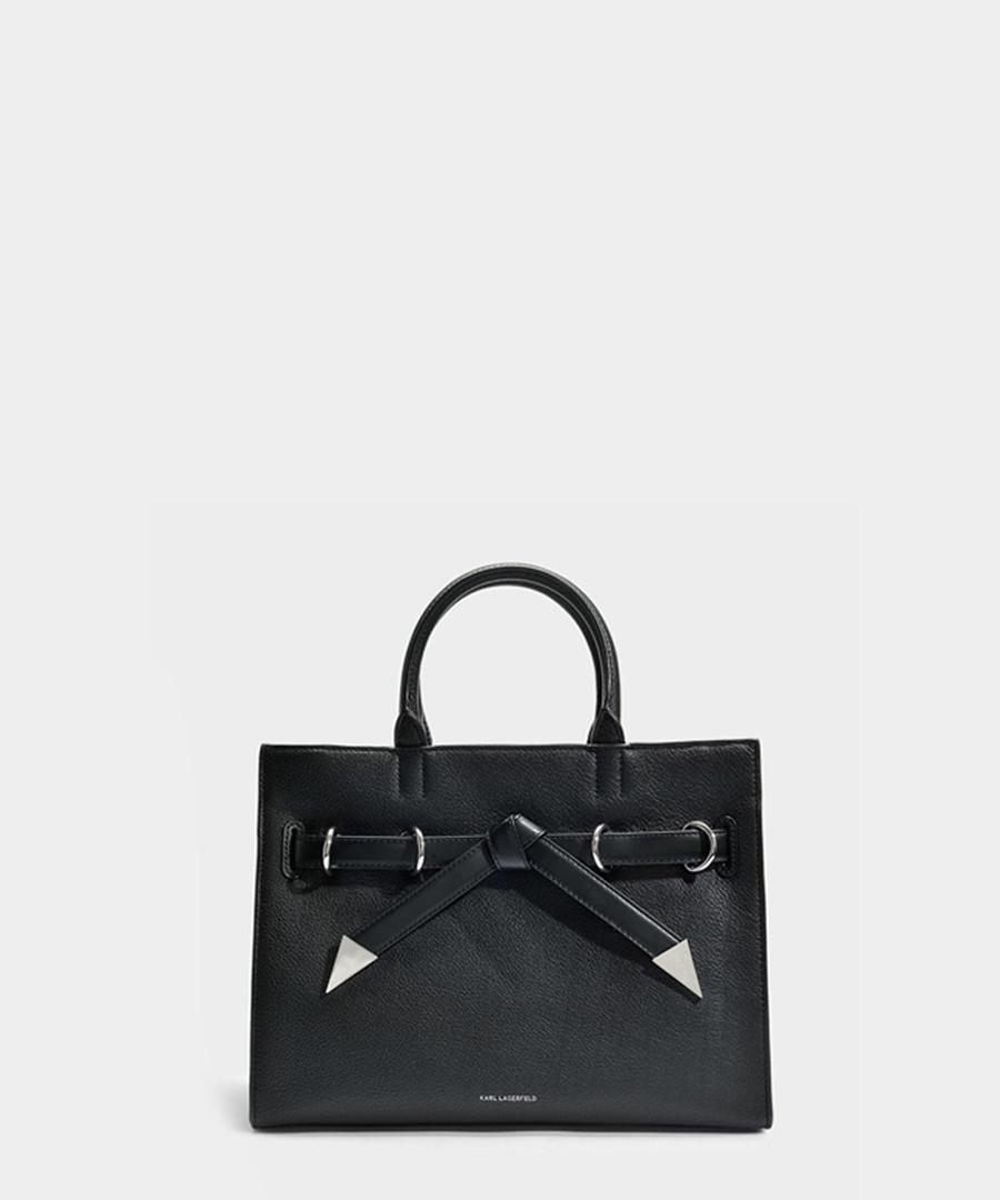 K/Rocky black leather bow shopper Sale - KARL LAGERFELD