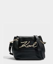 K/Signature black leather drawstring bag