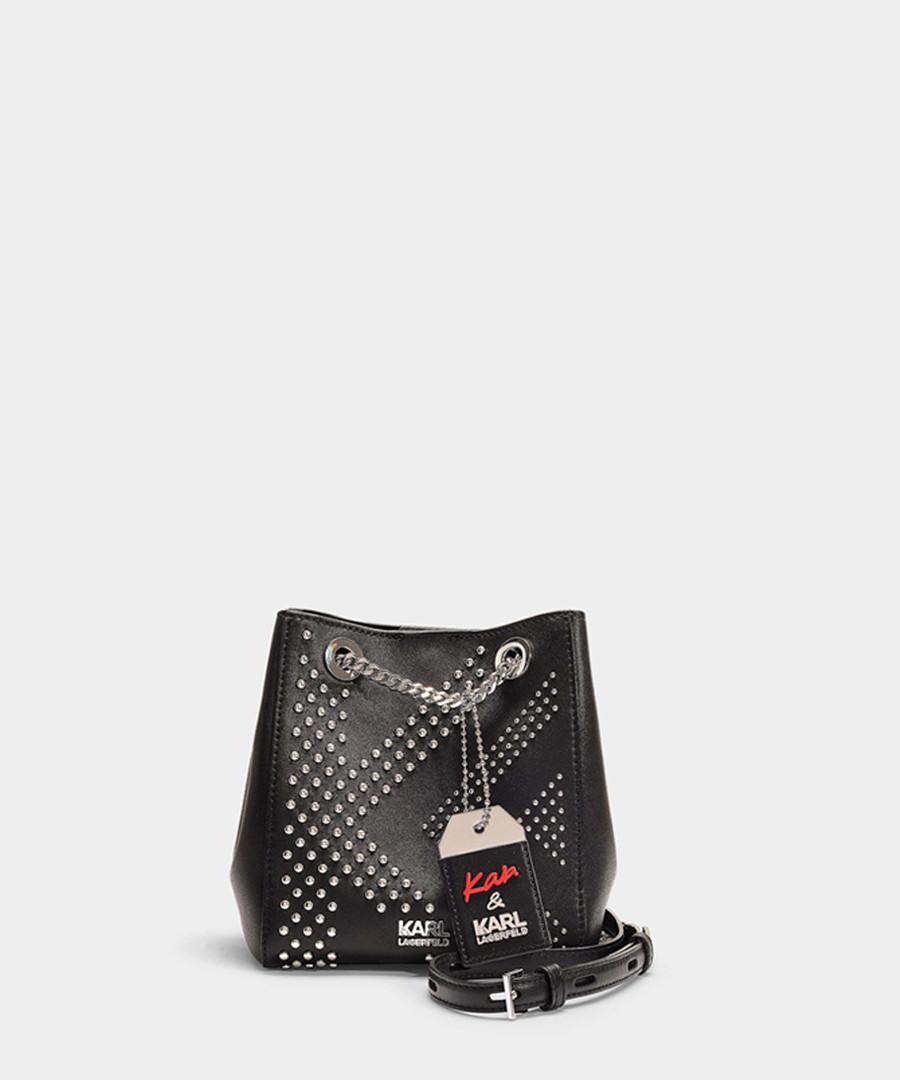 Karl X Kaia black studded bucket bag Sale - KARL LAGERFELD