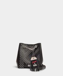 Karl X Kaia black studded bucket bag