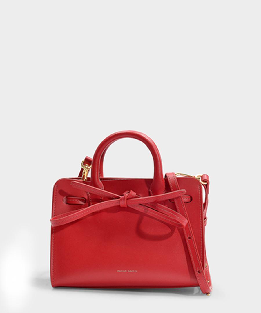 Mini Sun Red Calfskin & canvas grab bag Sale - Mansur Gavriel