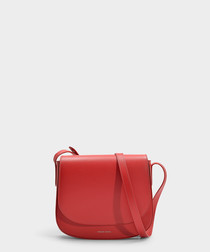 red calfskin & canvas crossbody bag
