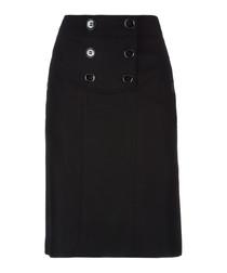 Black wool & cashmere blend button skirt