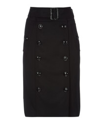 Black cotton belted button skirt