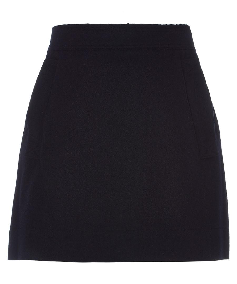 Navy wool blend mini skirt Sale - burberry