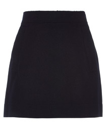 Navy wool blend mini skirt