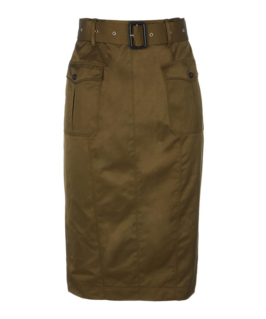 Khaki cotton blend belted skirt Sale - burberry