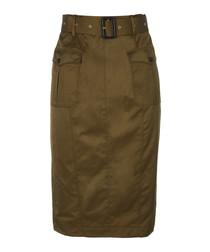 Khaki cotton blend belted skirt
