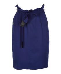 Bright cobalt pure silk skirt