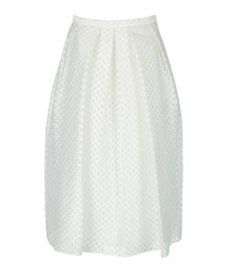White silk blend textured midi skirt