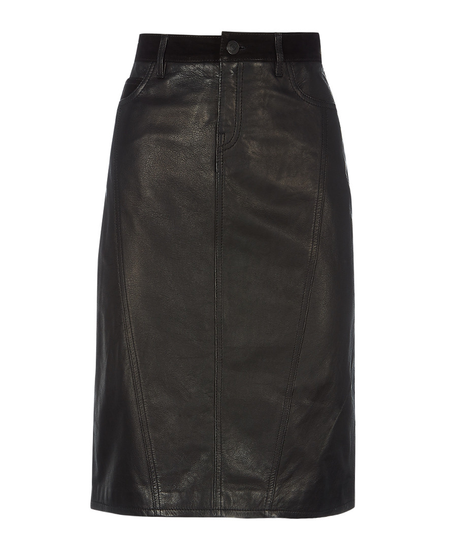 Black leather midi skirt Sale - burberry