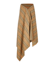 Camel stripe pure wool asymmetric skirt