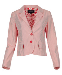 Women's red stripe pure cotton jacket