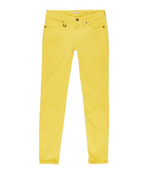 Women's bright yellow cotton jeans