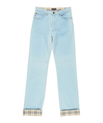 Women's ice cotton turned-up jeans
