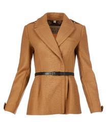 Women's camel wool blend jacket