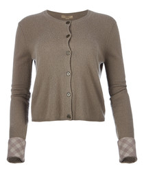 women's taupe pure cashmere cardigan