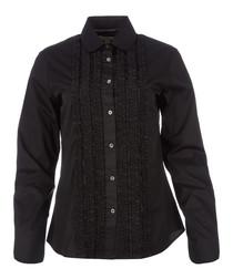 women's black cotton ruffle shirt