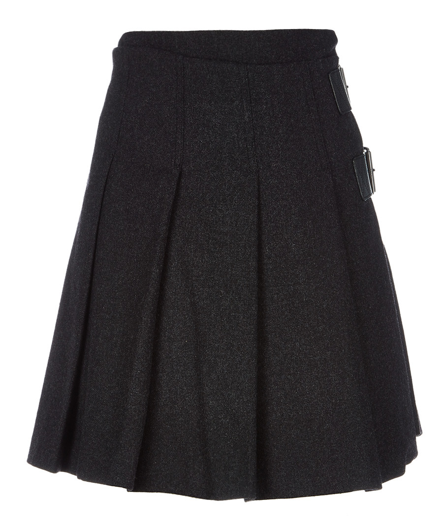 Charcoal wool blend pleated skirt Sale - burberry