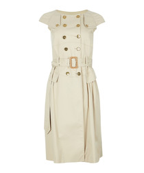 Pale stone cotton belted button dress