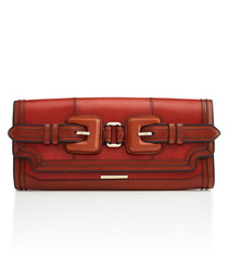 margot red leather clutch bag