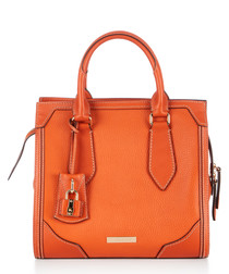 tangerine leather tote bag