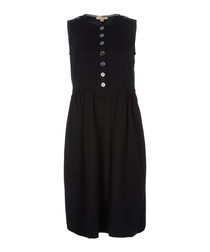 Black pure wool button-up dress