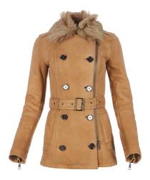 Women's dark trench lambskin coat