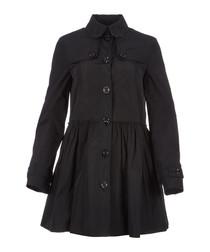 Women's black A-line coat