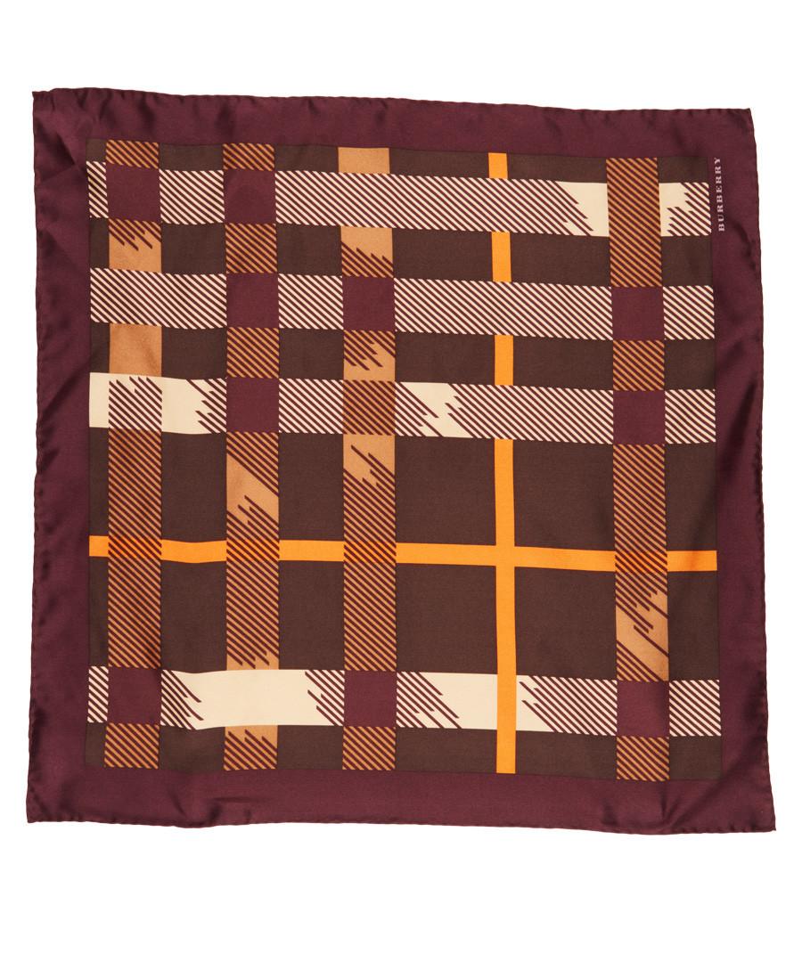 burgundy check pure silk scarf Sale - burberry