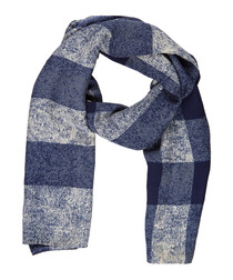 navy check pure silk scarf
