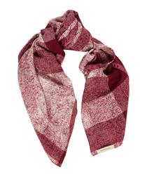 red check pure silk scarf