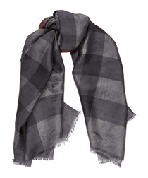 charcoal check pure silk scarf